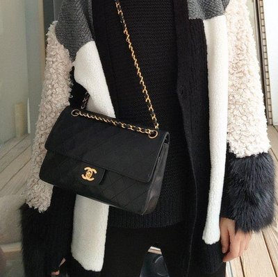 Chanel vintage 經典25 coco包黑色羊皮