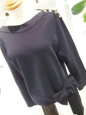 [ RainDaniel ] STELLA McCARTNEY 英國時尚品牌 海軍藍 蝴蝶綁帶ㄧ字領棉衫
