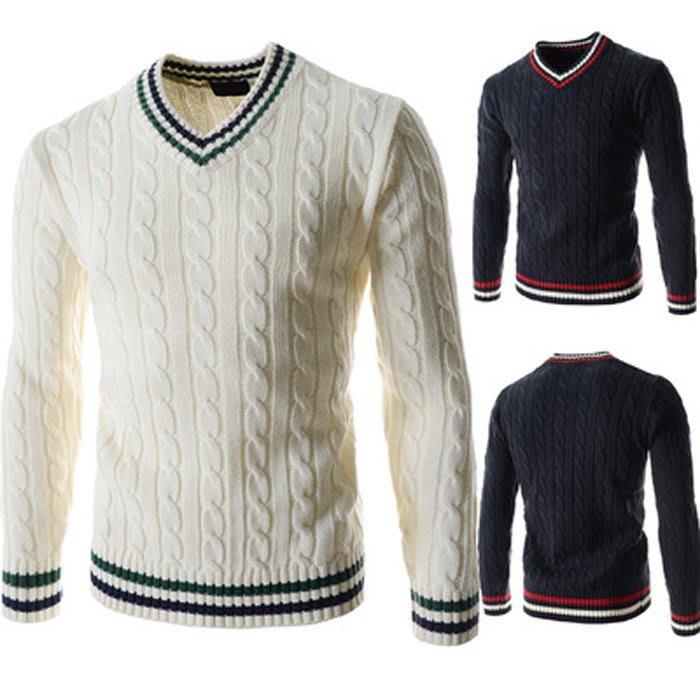 『潮范』 WS11 男士新款拼色圖案毛衣 條紋針織衫 撞色外貿鏤空V領條紋毛衣 圖案針織衫NRG2675