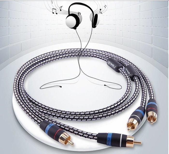 《音響展特價》Move on牧風M100發燒級6N無氧銅鍍銀RCA雙蓮花CD功放音頻信號線 0.5m一對 新店音響