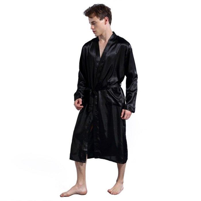 Z264 實穿照 有質感 絲質睡袍 睡袍 浴袍 睡衣 家居衣 情侶睡衣 男生睡衣 柔順
