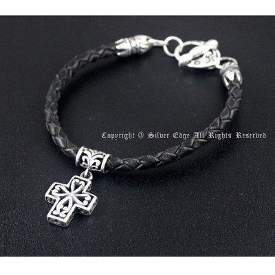 銀革手作 925 純銀 鏤空 十字架 OT扣 牛皮 手繩 手鐲