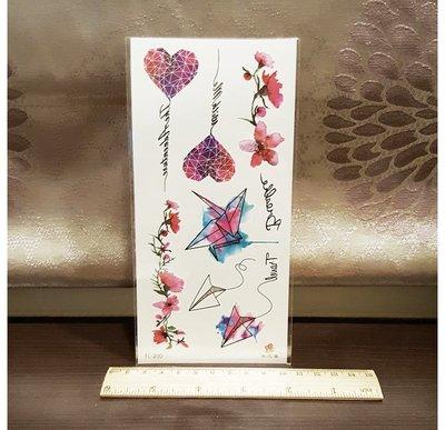 【萌古屋】愛心花朵紙飛機 - 男女防水紋身貼紙刺青貼紙K19