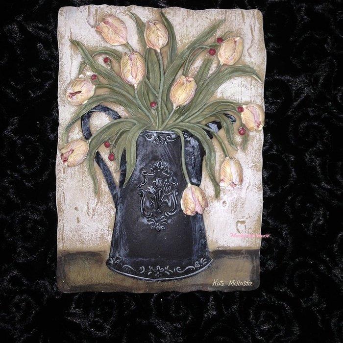 點點蘑菇屋{璧飾}美國 new view復古鬱金香花盆壁掛畫 立體浮雕 掛飾 壁磚