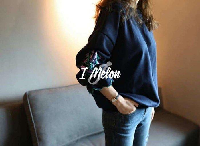 ::: i-MelOn ::: 100%韓國空運 正韓【現貨】超美刺繡花朵花苞袖長袖T恤衛衣※藍色/去年也熱賣