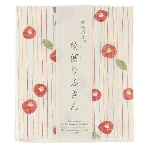 《散步生活雜貨-廚房散步》日本製 丸山 奈良生地 敷巾 繪風 廚房用抹布 - 山茶花