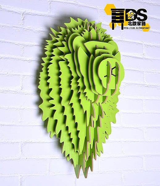 DS北歐家飾§ 復古仿舊LOFT設計復刻 蘋果綠 獅子頭壁掛 牆壁裝飾簡約壁飾掛件鄉村風格裝潢設計創意歐式文創組合文青