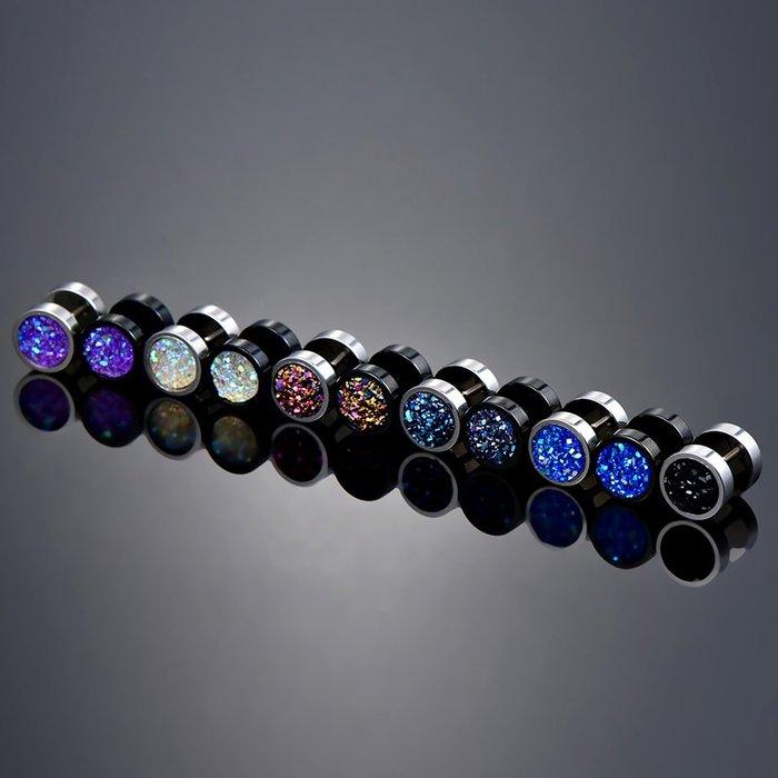 鈦鋼時尚簡約個性啞鈴耳釘男士單只韓版街頭潮人黑色杠鈴耳環飾品