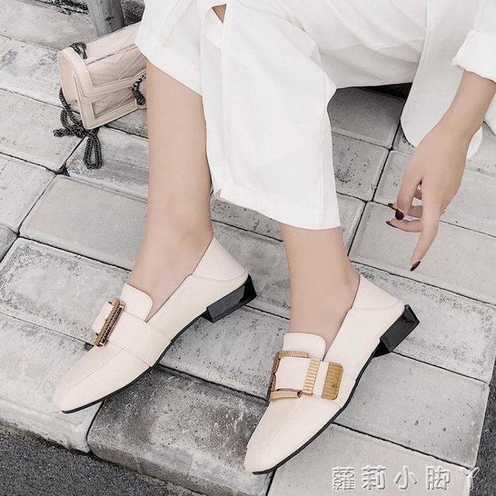 牛津鞋豆豆鞋女夏秋季新款百搭學生金屬扣樂福鞋粗跟小皮鞋單鞋 蘿莉小腳ㄚ