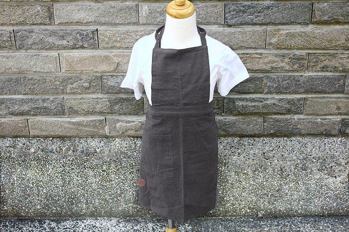 兒童圍裙_S/無配件棉麻碳灰色_B106-001◎兒童.小朋友.圍裙.兒童圍裙.服裝.無配件