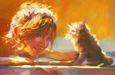 TCP作品【lovely morning】油畫CE-0015 無框畫 人物 動物 寫實風格 當代藝術
