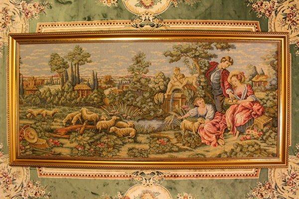 【家與收藏】特價稀有珍藏歐洲古典法國優雅羅曼史愛情故事巨幅刺繡畫/掛毯壁飾8