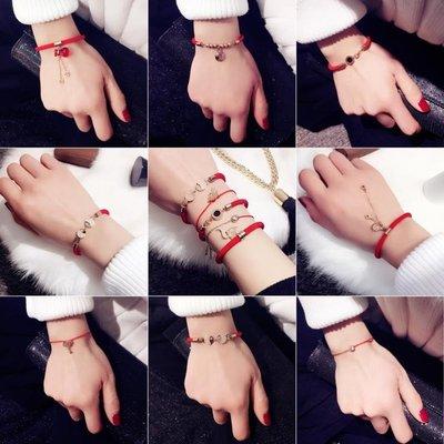 紅繩手鍊本命年葫蘆錢幣小狗年新年飾品紅色簡約百搭男女情侶手鍊XSD-NW112