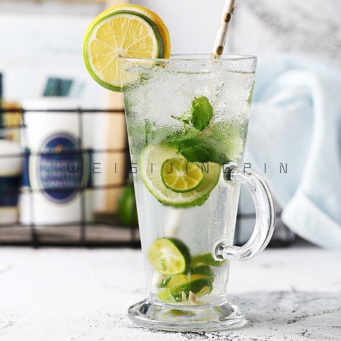 聚吉小屋 #創意透明玻璃杯調酒雞尾酒杯冷飲杯果汁杯奶昔杯奶茶杯個性啤酒杯