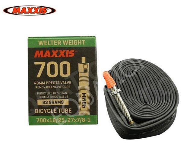 瑪吉斯 MAXXIS 盒裝 700*18/25c 公路車內胎 700c法式內胎 700c內胎  48MM長 方程式單車