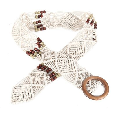 腰封皮帶 復古 編織 波西米亞 串珠 裝飾 鏤空 腰封 寬版 腰帶【FJ2BZ-K】