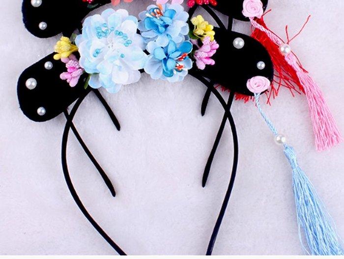 【洋洋小品超質感宮廷格格頭飾髮箍藍】萬聖節聖誕節舞會表演造型服裝COSPLAY表演道具派對尾牙如懿傳後宮甄嬛傳延禧攻略
