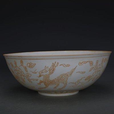 ㊣姥姥的寶藏㊣ 大明永樂甜白瓷麒麟牡丹大號薄胎碗  官窯出土古瓷器古玩古董收藏