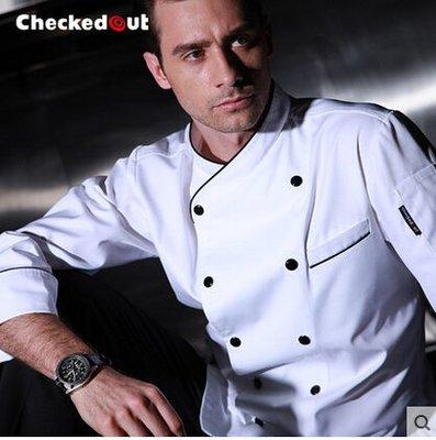 廚師服長袖秋冬裝酒店餐廳廚房服裝廚師衣服雙排扣廚師工作服新品