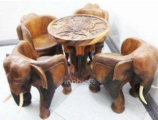 INPHIC-東南亞家居 飾品 工藝品 木雕 泰國風格 象茶幾一套