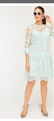 J CREW Three-quarter-sleeve dress in chantilly lace