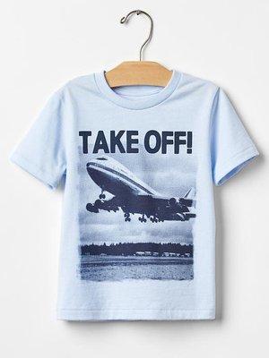 《 PENTA》GAP T恤 粉藍 TAKE OFF! 飛機 SIZE : 4Y