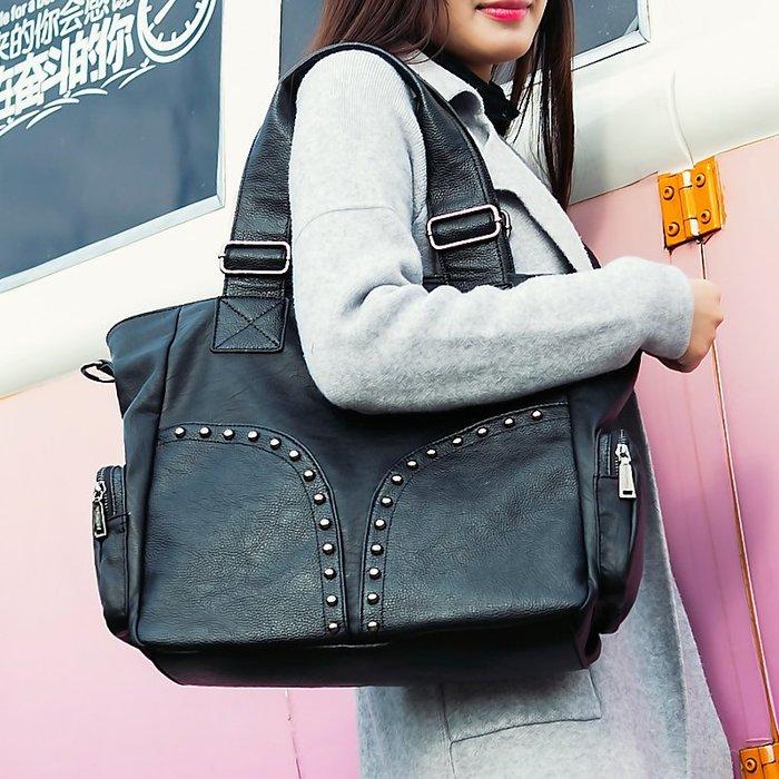真皮女包 大包 新款潮超大容量 手提包 時尚歐美單肩包 軟皮斜挎包【May Cool】