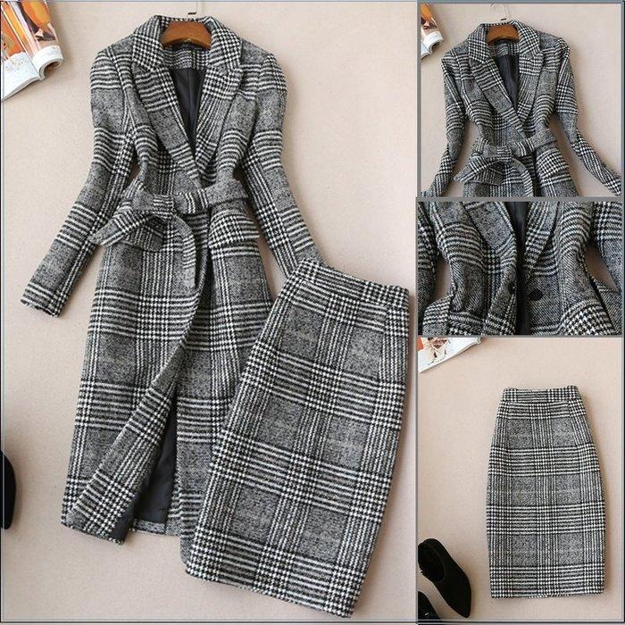 西裝套裝 #20222 秋冬新款 風衣修身外套搭及膝窄裙