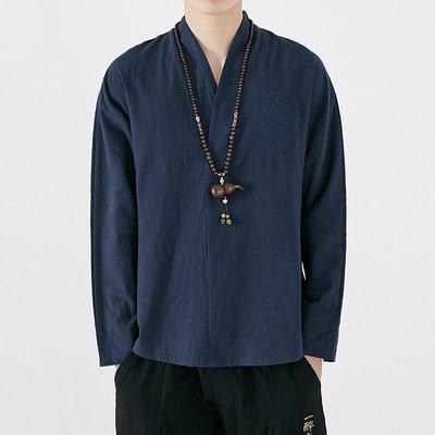 春季中國風男裝V領改良漢服新棉麻長袖T恤居士禪新修服中式復古風上衣