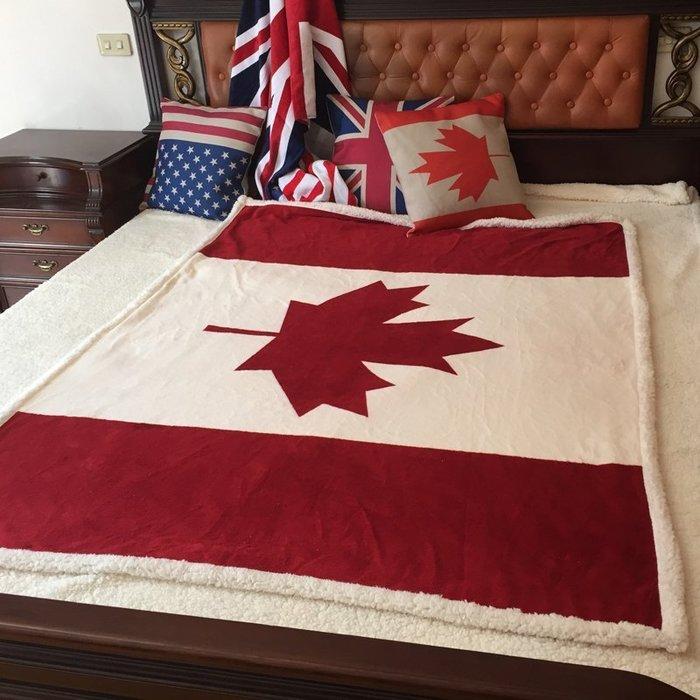 【布拉格歐風家具】羊羔絨法蘭絨空調毯 雙層加厚兒童毛毯子加拿大國旗休閑蓋毯-楓葉