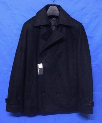 【TOKYO精品】日本名牌SUGGESTION 英倫雙排扣鋪綿窄版混羊毛短大衣 (日本進口)