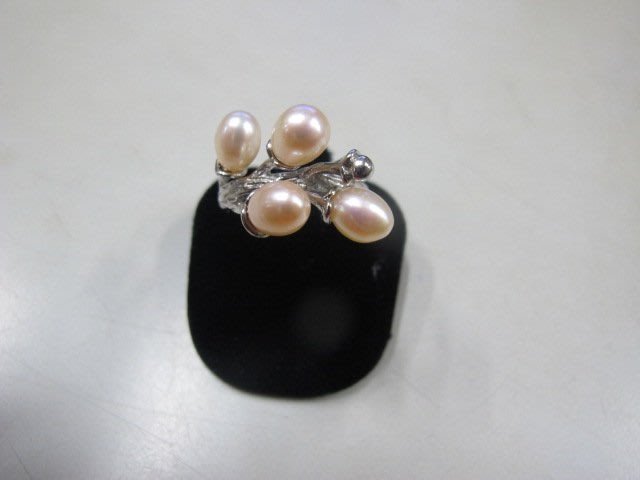 二手舖 NO.3983 天然珍珠 造型戒指 首飾飾品 全新