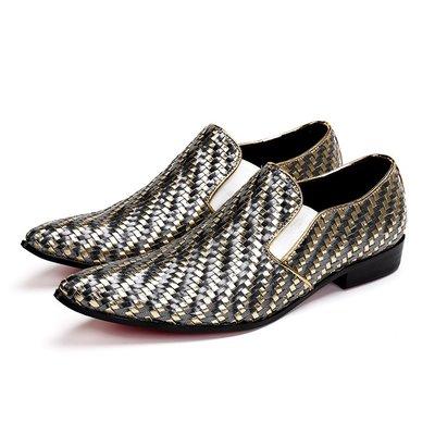 個性時裝男皮鞋 新款韓版時尚夜店發型師皮鞋男士小皮鞋低幫編織透氣英倫休閑男鞋