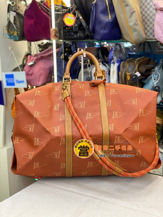 《當肯二手名品》LV 1995年 帆船盃 限定 絕版 手提袋 手提包 旅行袋 keepall ㊣