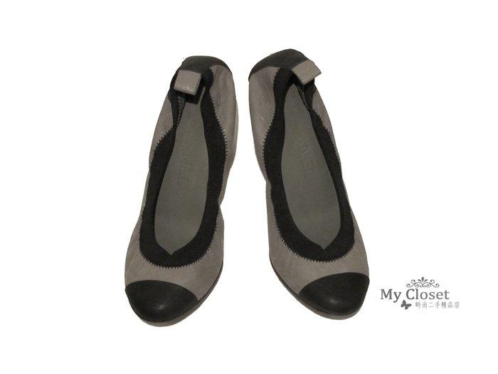 My Closet 二手名牌 CHANEL  灰x黑雙色圓頭高跟娃娃鞋