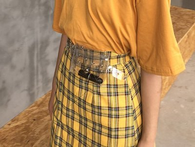 潮流百搭 單品 間約 圓形金屬PU時髦透明鐳射皮帶小腰包女簡約百搭腰帶 復古掛包帶手機包