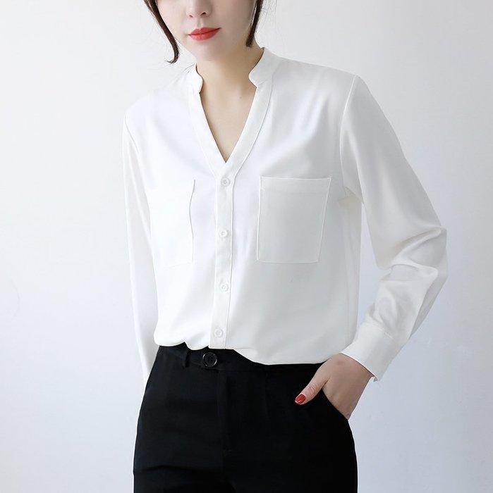 ~Linda~春裝新款韓范立領白襯衫女長袖前短後長寬鬆百搭雪紡衫氣質上衣