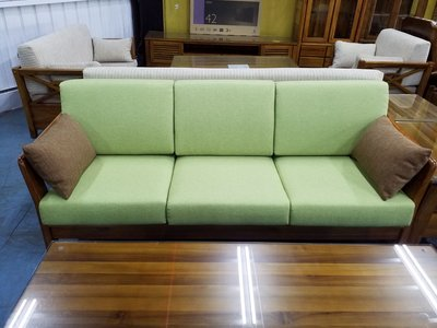 鴻宇傢俱~藍天100%印尼柚木全實木椅-三人位~附坐墊、靠枕、小抱枕~促銷優惠價~另有折扣價