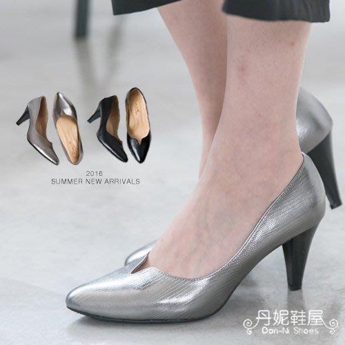早春 高跟鞋 高質感貴氣龍紋全真皮小V口高跟鞋 MIT台灣手工鞋 丹妮鞋屋