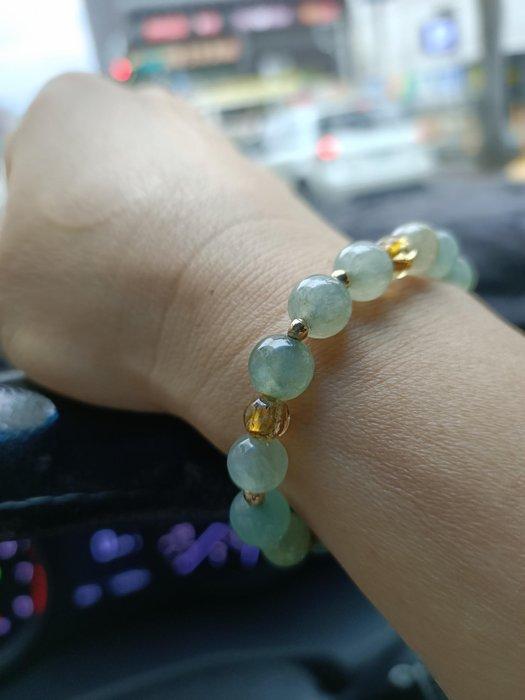 緬甸 和 大高冰微 放光 14金珠子手鍊