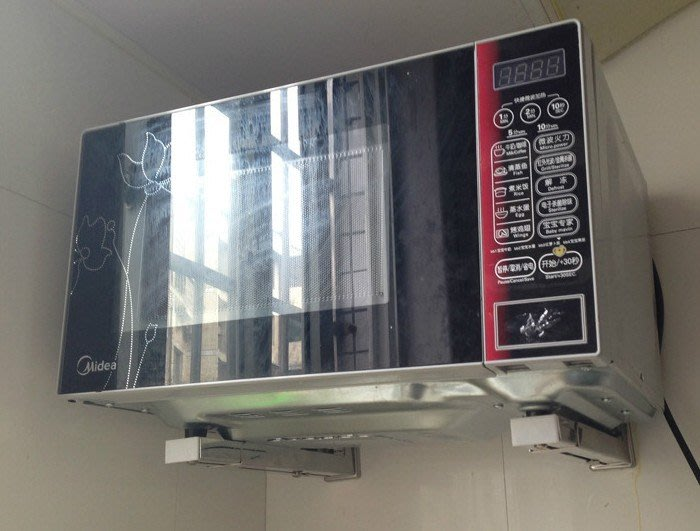 水龍頭 五金用品 不銹鋼微波爐支架裝墻托架 家用廚房壁掛置物架伸縮折疊烤箱架