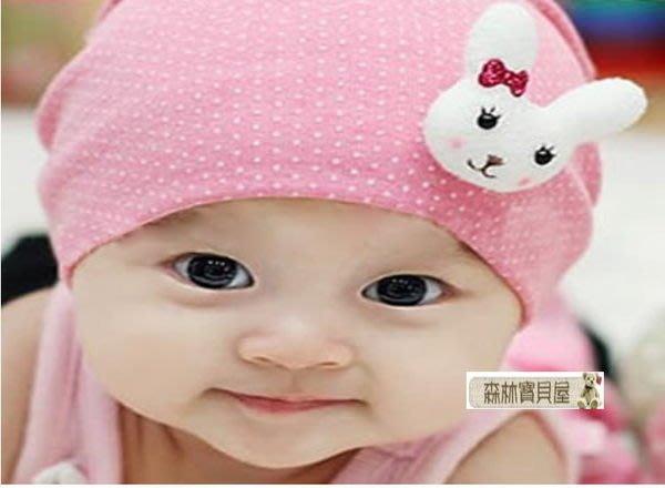 森林寶貝屋~蝴蝶結立體兔子帽~點點寶寶套頭帽~寶寶純棉帽子~童帽~小兔套帽~針織帽~外出必備~5色發售
