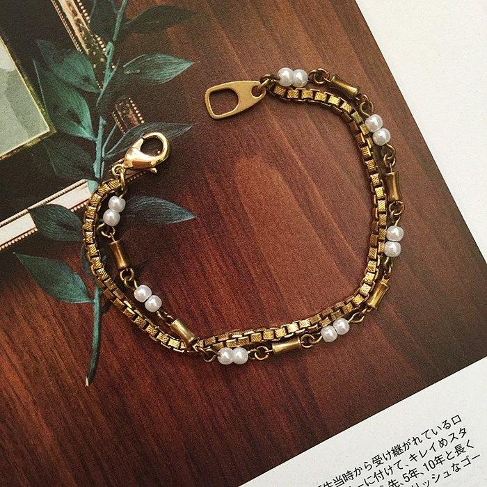 Ferron Accessories 琺隆   F61  珍珠黃銅雙層手鍊