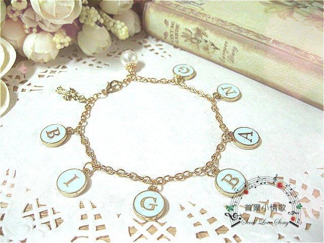 【首爾小情歌】BIGBANG 演唱會 珍珠吊飾玫瑰金色手鍊。藍色字母圓形 復古十字架 吊飾手環 手鍊 古典 飾品