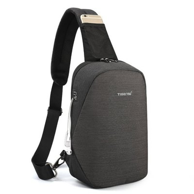 【橘子包舖】側背包  時尚簡約牛津布胸包 [T8061] 後背包斜背包 槍包 防潑水 學生包包 有耳機孔 潮男必備