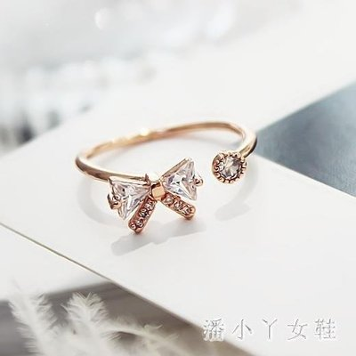 YEAHSHOP 蝴蝶結閃鉆夸張開口戒韓版時尚女Y185