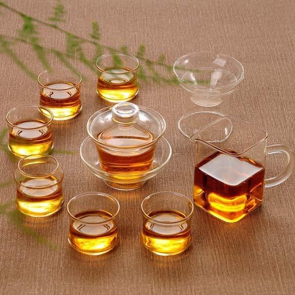 5Cgo【茗道】含稅會員有優惠   41708213445 左茗右器紅茶普洱功夫茶具玻璃整套裝家用透明加厚蓋碗泡茶器