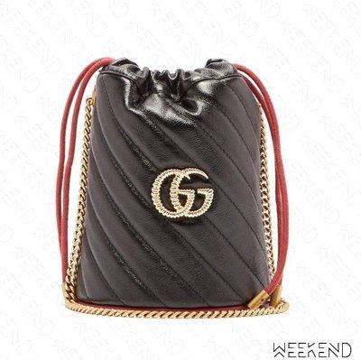 【WEEKEND】 GUCCI GG Marmont Mini 迷你 肩背包 水桶包 黑+紅色