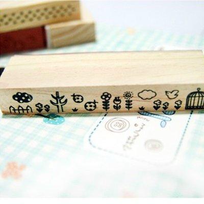 花腰復古木質長款印章5款創意動物系列手帳郵戳日記裝飾印章