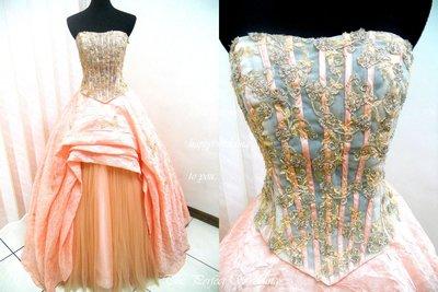 *~時尚屋~*二手禮服婚紗~大尺碼~粉橘色馬甲法式設計師浪漫造型款《二手禮服》~K292(歡迎預約試穿)
